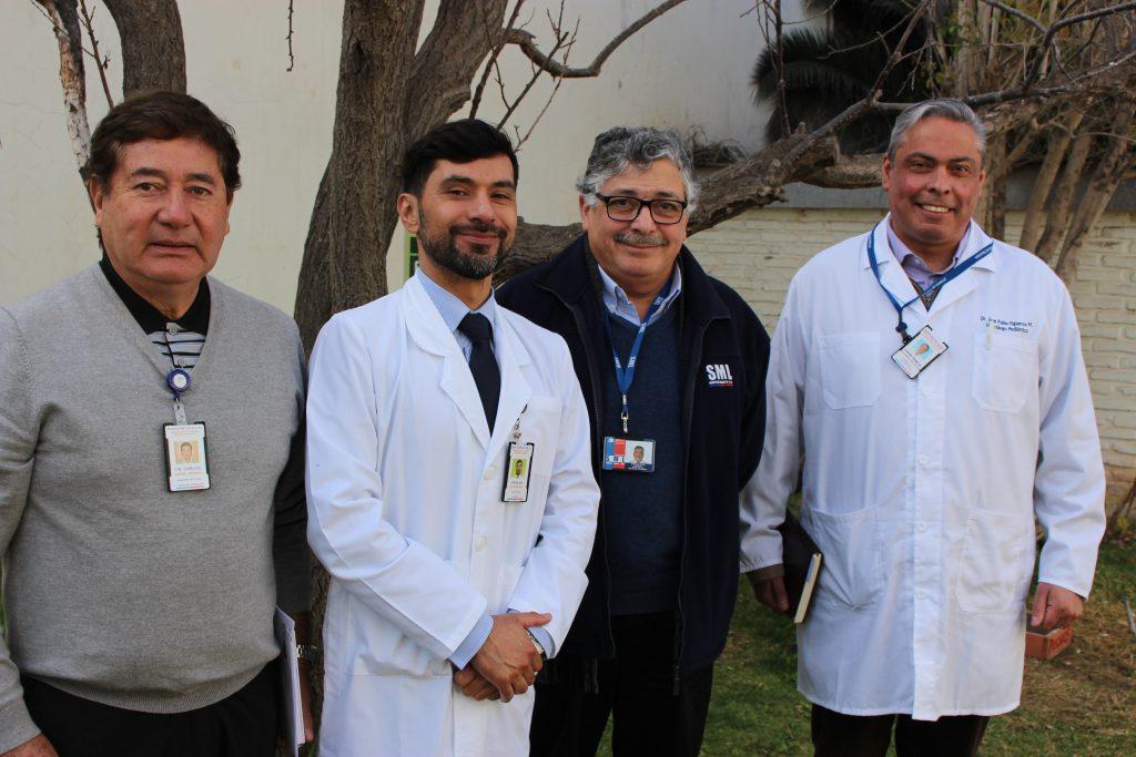 De izquierda a derecha: Dr. Carlos Barría, jefe de U. de Anatomía Patológica; Dr. Froilán Estay, director del Hospital de Ovalle; Dr. Jorge Díaz, director del SML Región de Coquimbo; Dr. Juan Pablo Figueroa, subdirector de Gestión Clínica.